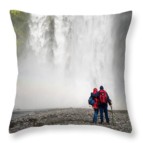 Enjoying Skogafoss Waterfall In Iceland - Throw Pillow
