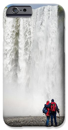 Enjoying Skogafoss Waterfall In Iceland - Phone Case