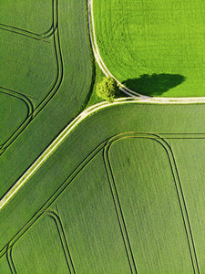 Green geometric landscape aerial photography