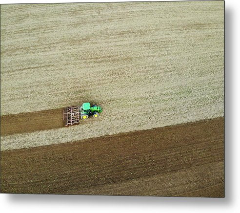 Farm Tractor Cutting Furrows In Field Aerial Image - Metal Print