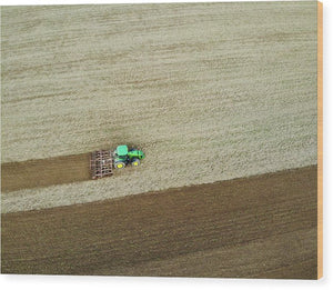 Farm Tractor Cutting Furrows In Field Aerial Image - Wood Print