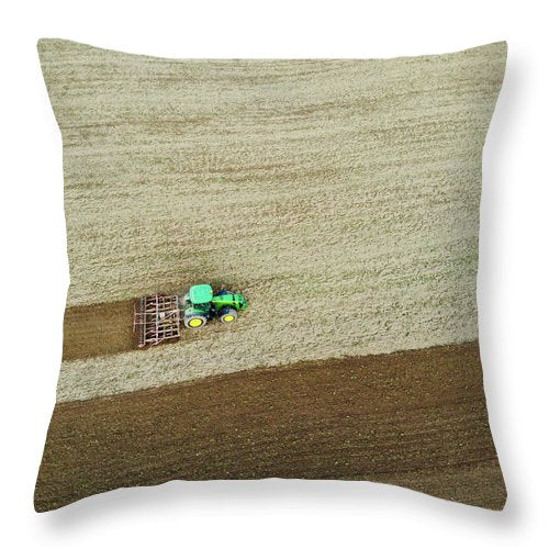 Farm Tractor Cutting Furrows In Field Aerial Image - Throw Pillow