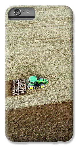 Farm Tractor Cutting Furrows In Field Aerial Image - Phone Case
