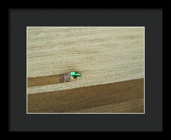 Farm Tractor Cutting Furrows In Field Aerial Image - Framed Print