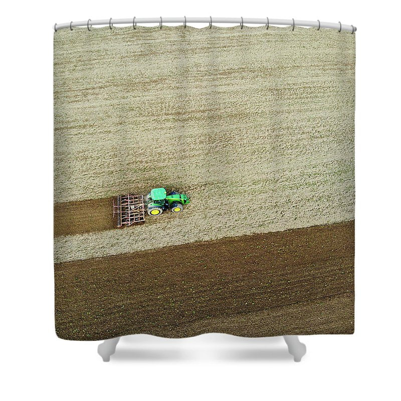 Farm Tractor Cutting Furrows In Field Aerial Image - Shower Curtain