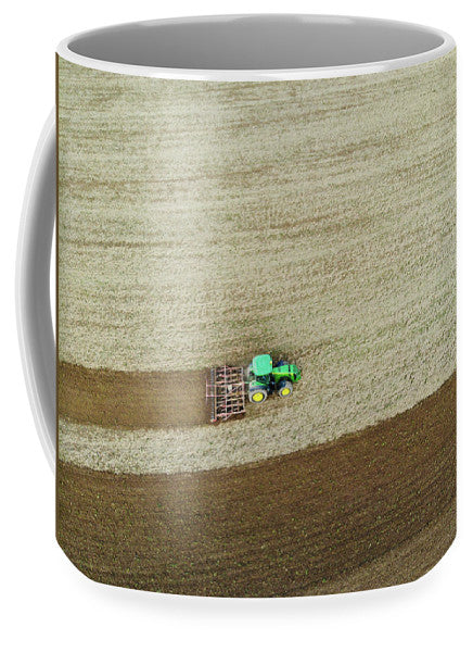 Farm Tractor Cutting Furrows In Field Aerial Image - Mug