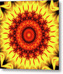 Fire Mandala Art Orange And Yellow - Metal Print