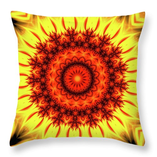 Fire Mandala Art Orange And Yellow - Throw Pillow