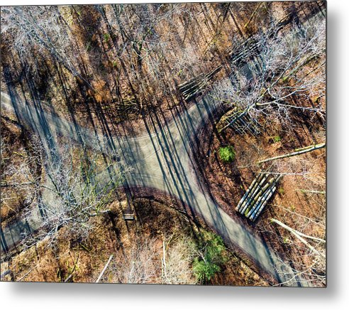 Forest Path Crossroad From Above Drone Photography - Metal Print