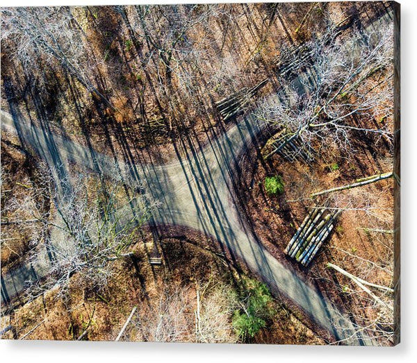 Forest Path Crossroad From Above Drone Photography - Acrylic Print