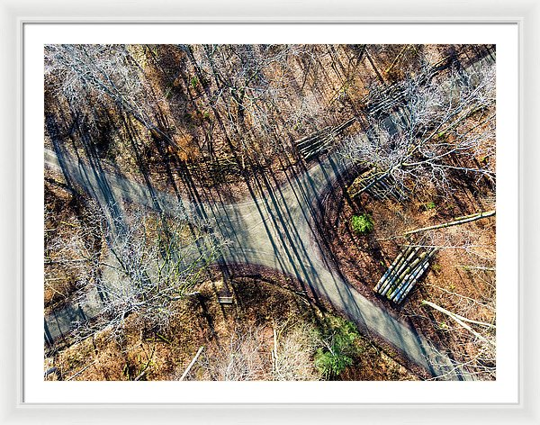 Forest Path Crossroad From Above Drone Photography - Framed Print