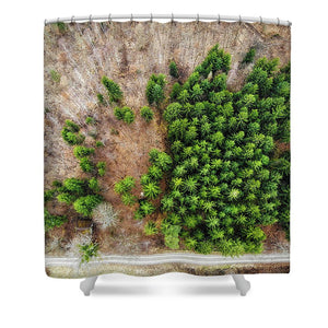 Forest With Green Trees From Above - Shower Curtain