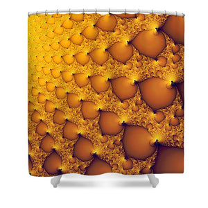 Fractal Artwork Golden And Yellow Abstract - Shower Curtain