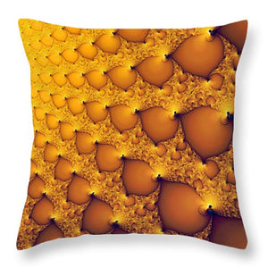 Fractal Artwork Golden And Yellow Abstract - Throw Pillow