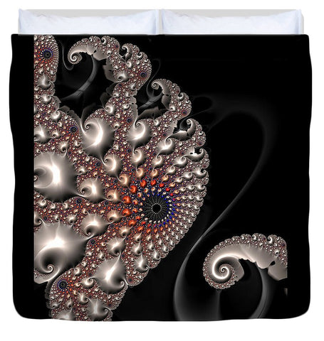 Fractal Contact - Silver Copper Black - Duvet Cover