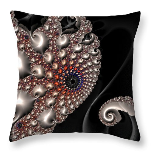 Fractal Contact - Silver Copper Black - Throw Pillow