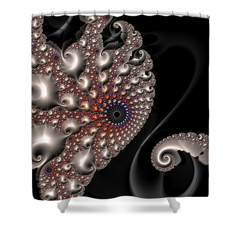 Fractal Contact - Silver Copper Black - Shower Curtain