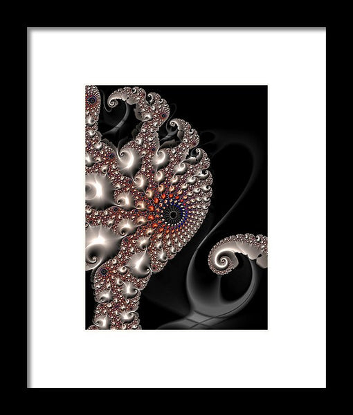 Fractal Contact - Silver Copper Black - Framed Print