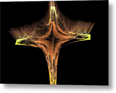 Fractal Cross Golden And Yellow - Metal Print