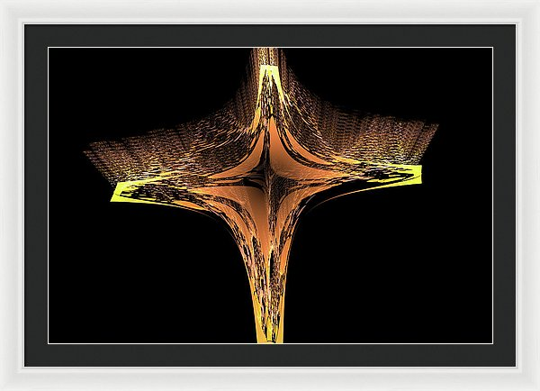 Fractal Cross Golden And Yellow - Framed Print