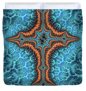 Fractal Cross Turquoise And Orange - Duvet Cover