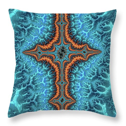 Fractal Cross Turquoise And Orange - Throw Pillow