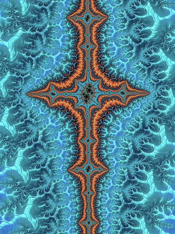 Fractal Cross Turquoise And Orange - Art Print