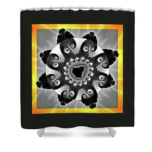 Fractal Design 01 Black And Orange - Shower Curtain
