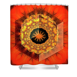 Fractal Design 02 Red Yellow Black - Shower Curtain