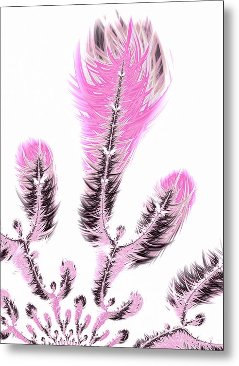 Fractal Flower Digital Artwork Light Pastel Pink - Metal Print