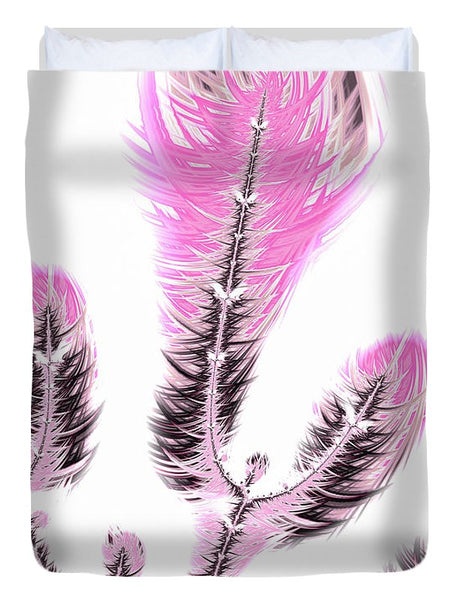 Fractal Flower Digital Artwork Light Pastel Pink - Duvet Cover
