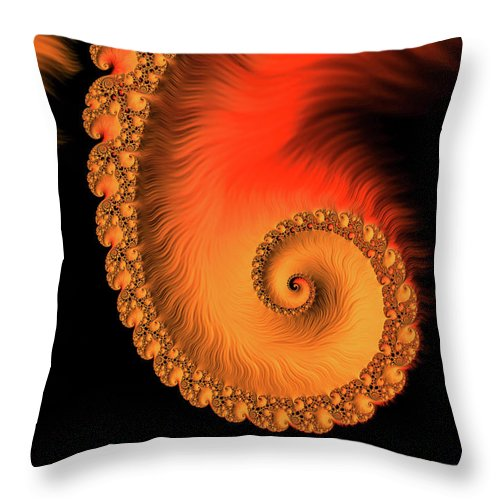 Fractal Spiral Art Orange Red And Black - Throw Pillow