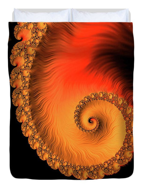 Fractal Spiral Art Orange Red And Black - Duvet Cover