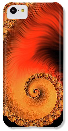 Fractal Spiral Art Orange Red And Black - Phone Case