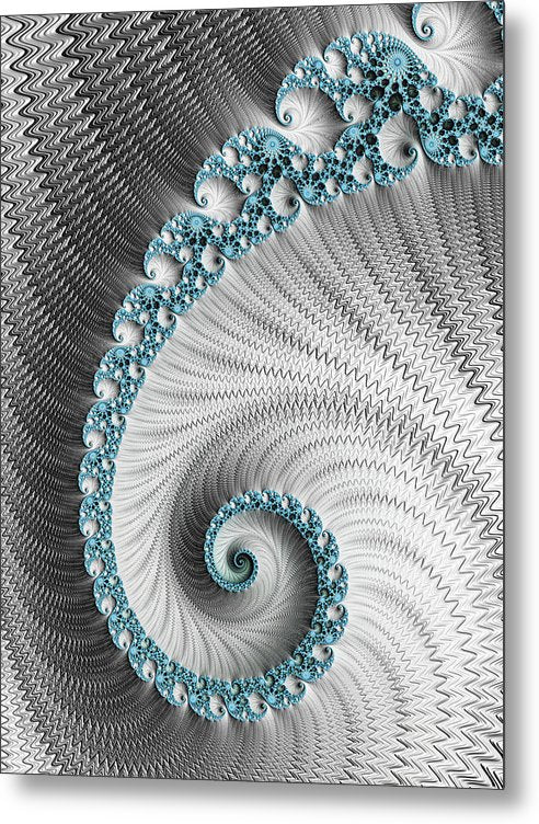 Fractal Spiral Art Silver And Cyan - Metal Print