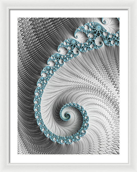 Fractal Spiral Art Silver And Cyan - Framed Print