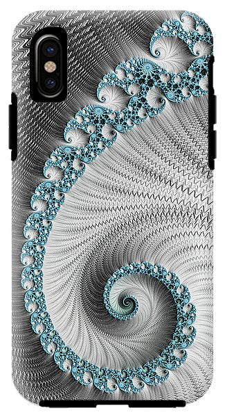 Fractal Spiral Art Silver And Cyan - Phone Case