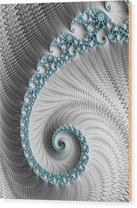 Fractal Spiral Art Silver And Cyan - Wood Print