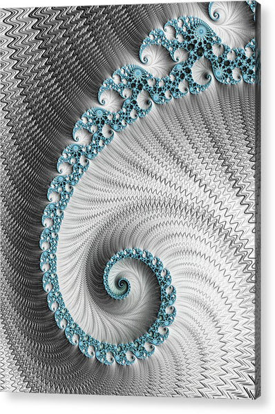 Fractal Spiral Art Silver And Cyan - Acrylic Print