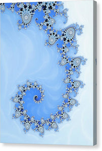 Fractal Spiral Blue And White Winter Tones - Canvas Print