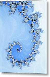 Fractal Spiral Blue And White Winter Tones - Metal Print