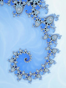 Fractal Spiral Blue And White Winter Tones - Art Print