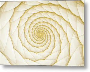 Fractal Spiral Golden Yellow White - Metal Print