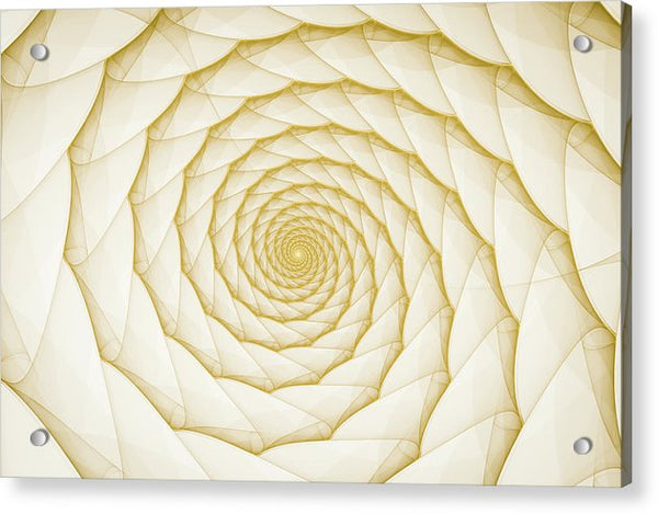 Fractal Spiral Golden Yellow White - Acrylic Print