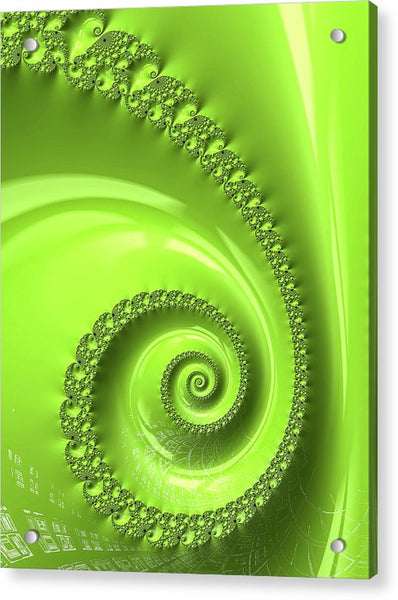 Fractal Spiral Greenery Color - Acrylic Print