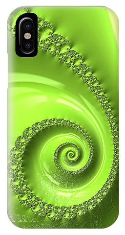 Fractal Spiral Greenery Color - Phone Case