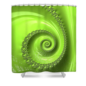 Fractal Spiral Greenery Color - Shower Curtain