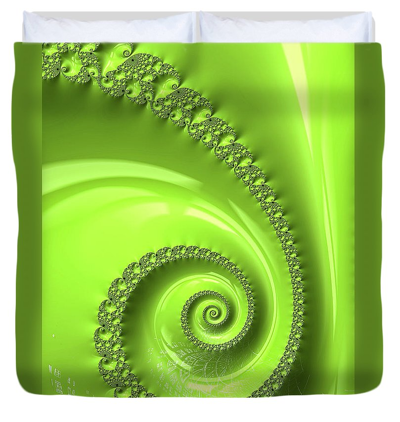 Fractal Spiral Greenery Color - Duvet Cover