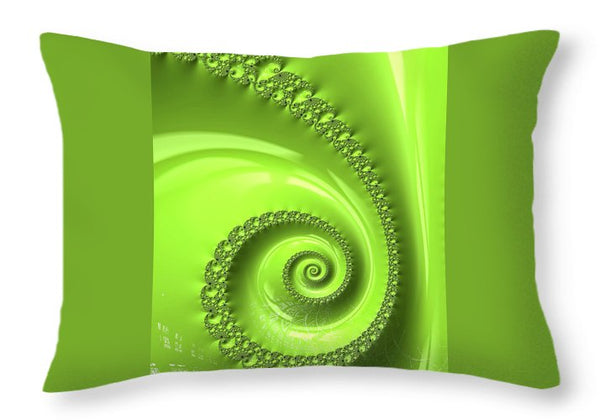 Fractal Spiral Greenery Color - Throw Pillow