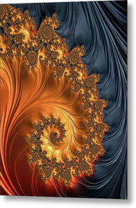 Fractal Spiral Orange Golden Black - Metal Print